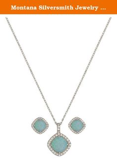 Montana Silversmith Jewelry Women Necklace Earrings Silver Blue JS2539. Womens Montana Silversmiths Western Jewelry: In the Canyon Colors collection, River Lights pieces echo the dazzling light reflected in the wild rivers and shining in the clear night sky using colored stones set in silver finishes. Featuring a small diamond shaped pendant, a frame of bright clear rhinestones wrap warmly around a round winter blue opal in the center. Necklace hangs on a princess length 19 inch chain....