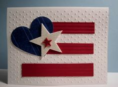hand crafted 4th of July/paatricotic card ... JM Heart and Stripes ... clean lines and graphic loook ... luv the textures and white glitter paper die cut stars ...