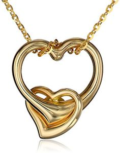 14k Yellow Gold Double-Heart Pendant Necklace, 16″