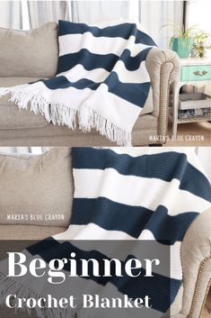 Beginner Crochet Blanket Pattern This classic looking blanket is super beginner friendly! It's a simple crochet blanket pattern wi Modern Crochet Blanket, Crochet For Beginners Blanket, Afghan Crochet Patterns, Knitting Patterns, Crochet Afghans, Beginner Crochet Projects, Crochet Cushions, Crochet Blocks, Crochet Pillow