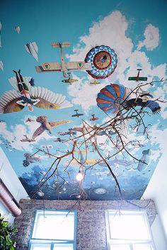 Yolka Bar Designist 6 YOLKA: barul din Cluj cu povești pictate pe tavan și o rădăcină candelabru #ceilingsareunderrated #romania #cafe