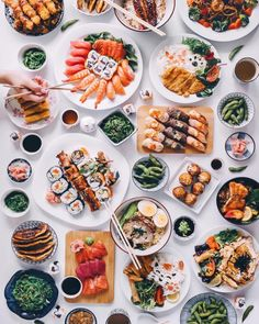 Japanese Feast  ✧   #sushi #food #nigiri