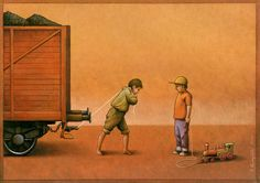 Satirical and social critisizm art by pawel kuczynski