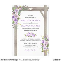 Shop Rustic Country Purple Floral Wedding Pergola Invitation created by special_stationery. Marriage Invitation Templates, Spring Wedding Invitations, Rustic Invitations, Printable Wedding Invitations, Floral Invitation, Wedding Stationary, Purple And Silver Wedding, Wedding Pergola, Country