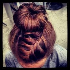 Sock bun with braid I did today!