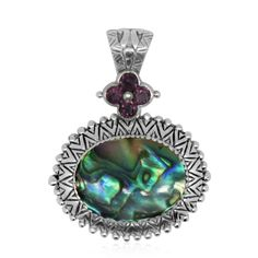 Bali Legacy Collection Abalone Shell, Orissa Rhodolite Garnet Sterling Silver Pendant without Chain TGW 0.97 cts. | pendants | jewelry | online-store | Shop LC
