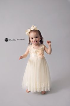 Cream Lace Flower Girl Dress Tulle Long Dress by NicolettesCouture