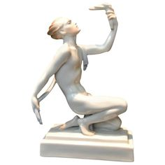 Herend Porcelain Semi-Nude Male Statue with Torch, circa 1960s
