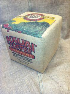 Burlap Coffee Bag Ottoman