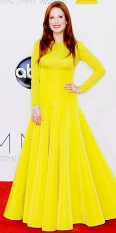 Look of the Day › September 23, 2012  WHAT SHE WORE Julianne Moore turned heads in a yellow Dior Haute Couture design and Fred Leighton diamonds. WHY WE LOVE ITOn a night of so much color, the Emmy-winning actress stood out from the pack in a vibrant long-sleeve gown!