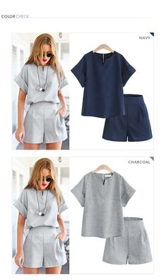 Women Two pieces Cotton Linen V-neck Style Casual, Casual Looks, Casual Outfits, Fashion Outfits, Fashion Women, Stylish Womens Suits, Suits For Women, Black Skirt Suit, Look Chic
