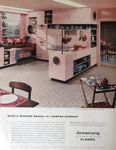 1956 Armstrong Floor Ads  Faux Brick Linoleum by RetroReveries