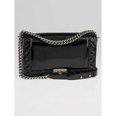 Pre-owned Chanel Black Patent Leather Boy Reverso Medium Flap Bag (29155 MAD) ❤ liked on Polyvore featuring bags, handbags, patent leather handbags, chain purse, crossbody handbags, preowned handbags and quilted flap bag