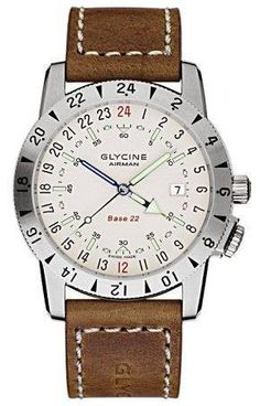 Glycine Watch Airman Base 22 GA Version #bezel-fixed #bracelet-strap-leather #brand-glycine #case-depth-11-20mm #case-material-steel #case-width-42mm #clasp-type-tang-buckle #classic #date-yes #delivery-timescale-1-2-weeks #dial-colour-silver #gender-mens #movement-automatic #official-stockist-for-glycine-watches #packaging-glycine-watch-packaging #subcat-airman #supplier-model-no-3887-11-ga-lb7bh #warranty-glycine-official-2-year-guarantee #water-resistant-200m #world-time-yes