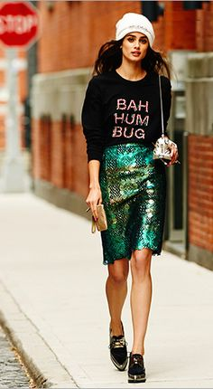 Markus Lupfer BAH HUM BUG ANNA SWEATER.  I'd wear it for fun only.  I LOVE CHRISTMAS.