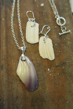 Jewelry made from shell fragments found on Delaware Seashore Beach. I like the necklace, not sure about the earrings.