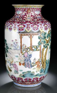 A rare Famille Rose porcelain lantern vase with playing boys and quails in a garden, China, iron-red seal mark and period of Daoguang
