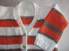 Tejidos artesanales con bordados - Carysol: SACOS RAYADOS EN HILO DE ALGODON DE 3 a 6 meses