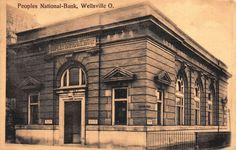 1909 Postcard Peoples National Bank in Wellsville, Ohio~112942
