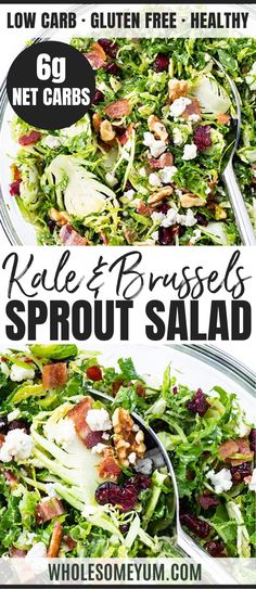 Kale And Brussels Sprout Salad Recipe With Bacon Cranberries And Pecans - You'll love this healthy low carb kale and brussels sprout salad recipe! See how to make kale brussels sprout salad with bacon and cranberries in just 15 minutes. Salad Recipes With Bacon, Easy Salad Recipes, Bacon Recipes, Veggie Recipes, Lunch Recipes, Real Food Recipes, Great Recipes, Paleo Recipes, Low Carb Recipes