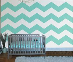 Chevron Four Wall Mural The HOT TREND is Chevron Stripes for that contemporary look. In our example of the mural we feature FOUR stripes in a turquoise to match the bedding, but it's up to YOU to choo