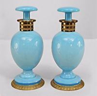 French Victorian Style (20th Cent) Blue Opaline Perfume Bottles