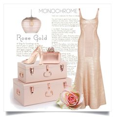 """Monochrome Rose Gold"" by conch-lady ❤ liked on Polyvore featuring Jimmy Choo, Nicholas Kirkwood, Heathfield & Co. and Hervé Léger"