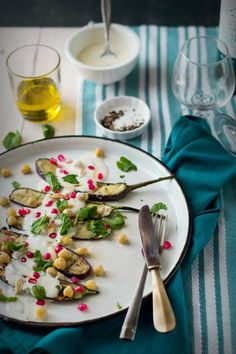 Grilled Eggplant Salad With Yogurt Dressing & A Cookout With Green Diva - The White Ramekins Eggplant Salad, Grilled Eggplant, Meat Fruit, Easy Summer Salads, Cold Dishes, Eggplant Recipes, Dressing, Daily Meals, Vegetarian Recipes