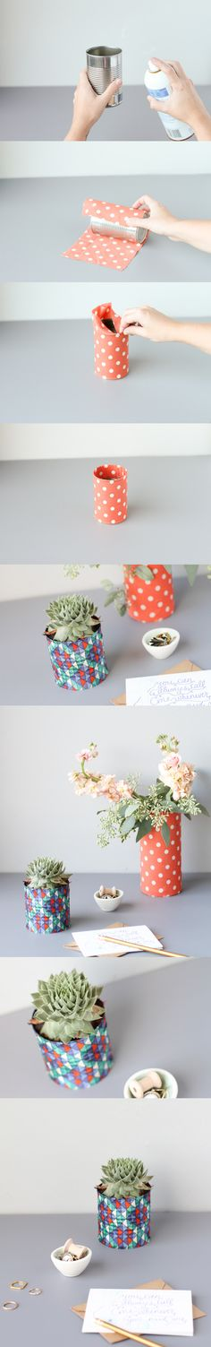 Paper or fabric covered tin cans, for plants or storage.