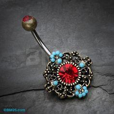 Vintage Boho Filigree Flower Belly Button Ring