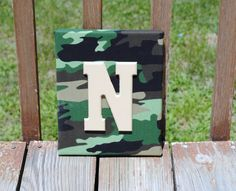 """Personalized Camouflage Camo Print with Tan Initial Canvas Wall Art 8""""x10"""" Customized Boys And Girls Room Decor"""