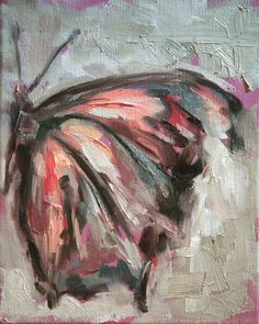 Original oil painting of a pink butterfly wing by meredithonealART, $125.00