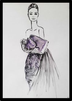 Handpainted fashionillustration of an elegant Haute Couture Dress. Created with black ink and watercolors Metallica, Watercolors, Watercolor Paintings, Lavender Dresses, Haute Couture Dresses, Acrylic Colors, Watercolor Illustration, Evening Gowns, Beautiful Dresses