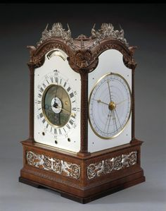 "1765 British Astronomical clock in the Royal Collection, UK - From the curators' comments: ""George III's consuming interest in horology and science is attractively encompassed in this 4-sided astronomical clock."""