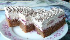 Výborný dezert, ktorý nie lenže skvelo chutí, ale aj dobre vyzerá - recept je môj vlastný. Czech Recipes, Ethnic Recipes, Tiramisu, Cheesecake, Food And Drink, Cooking Recipes, Sweet, Hampers, Boleros