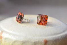 Halloween earrings  Spider earrings  Fused glass by BGLASSbcn