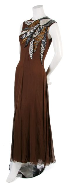 A Jean Louis Couture Brown Silk Chiffon Evening Gown,