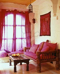 A pink Indian interior at Samode Palace in North India