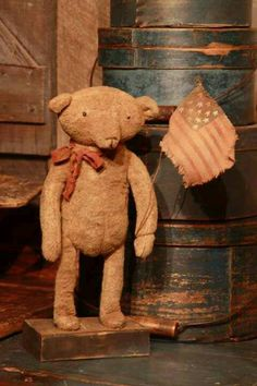 teddy with flag