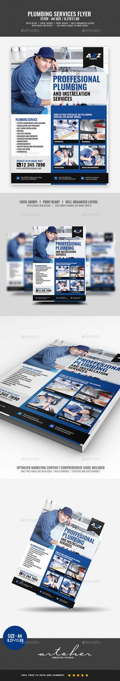 #Plumbing #Services #Flyer #template - #Corporate #business #company Flyers #design. download; https://graphicriver.net/item/plumbing-services-flyer/20372323?ref=yinkira