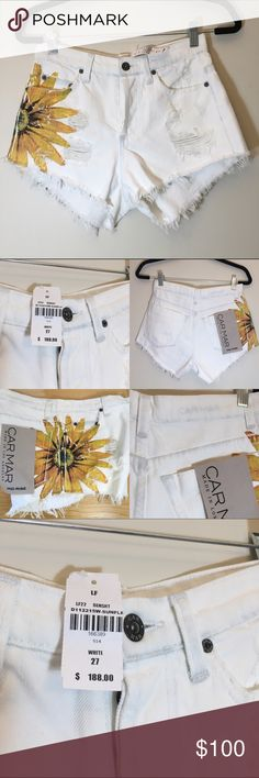 NWT LF CARMAR Sunflower midi white denim shorts Brand new never worn. Painted sunflower (came this way from LF) LF Shorts Jean Shorts White Denim Shorts, Jean Shorts, Sunflower Shorts, Fashion Design, Fashion Tips, Fashion Trends, Brand New, Gift Ideas, Outfits
