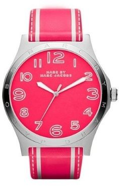 Marc Jacobs MBM1231 Women Henry Pink & White Leather Pink Dial Watch