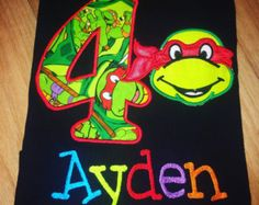Items similar to Ninja Turtle Inspired T-Shirt, Applique Boys Birthday Shirt or Bodysuit Personalized on Etsy