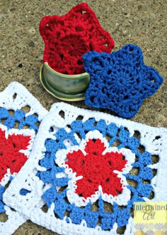 Free patterns for quick and easy Red, White, and Blue Patriotic Crochet Star Granny Square and Crochet Star Scrubby. Perfect for dishcloths, washcloths, blanket squares, and more! Intertwined Art
