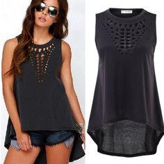 Hollow Out Tank Cute high low tank with hollowed out pattern on front yoke! Color is a dark grey. Material -cotton Tops Tank Tops