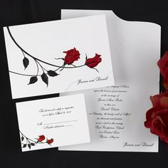 Duet in Red and Black Wedding Invitation