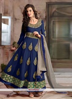 Intriguing Lace Work Net Anarkali Salwar Kameez