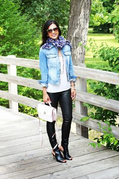Leather and Denim #lovezahra  Zadig & Voltaire jacket, Paige Leggings, Vince Camuto Booties