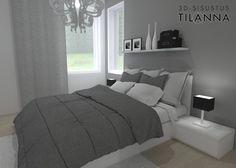3D - sisustussuunnittelu / moderni makuuhuone, harmaa seinä, Kare Phantom 66734 kattokruunu, modern bedroom, grey wall, Haukansulka C, Keski-Suomen Rakennuskeskus Oy/ 3D-sisustus Tilanna, sisustussuunnnittelija Jyväskylä