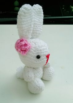 Handmade Knitted Rabbit Bunny Soft Stuffed Crocheted Eco Friendly Children Toy #Handmade